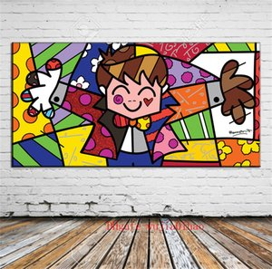 Romero Britto , Canvas Painting Living Room Home Decor Modern Mural Art Oil Painting #01