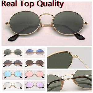 Lunettes de soleil ovale lunettes de soleil ovales réel en métal rondes qualité marque des lunettes de soleil pour les femmes l'homme avec étui en cuir, tissu, tout !!