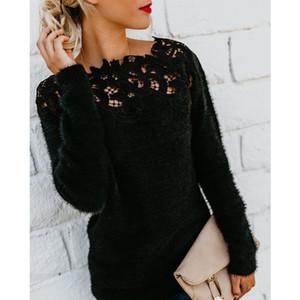 Invierno, Otoño, tapas de las mujeres suéter de punto de géneros de punto suéter puentes largos suéteres de manga de encaje atractivos ocasionales Jerseys