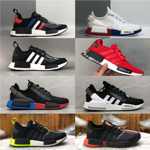 Top quality off-white x NMD R1.V2 Bred RUNNER shoe Primeknit OG Triple Black White Running Shoes Men Women Classic Star Casual sneakers