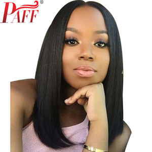 PAFF Short Bob Glueless Lace Front Human Hair Wigs Natural Color With Bangs Brazilian Remy Hair Wigs Pre Pluck
