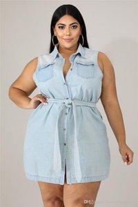 Pure Color Designer Dress Fashion Casual rivestite femminili abiti estivi Loose Women risvolto collo Abbigliamento Donna