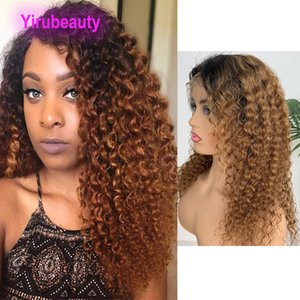 1b / 30 peruca dianteira do laço Kinky Curly Indiano Cabelo Humano 1b 30 Ombre Cabelo Perucas Lace 12-32inch Longer Dois Tons Virgin cabelo