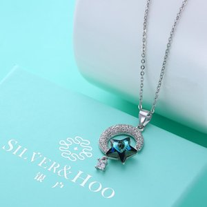 Swarovski Elements Pendant Necklace Crystal Stars and Moon CZ Diamond 925 Sterling Silver Necklace High-end Jewelry Holiday Gift POTALA019