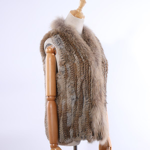 Genuine Collar Fur malha Raccoon Fur de SUPPEVSTTDIO 2019 New Women Vest Coletes real mangas gilets Atacado