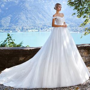 Sexy -плеча Cap рукава бальное платье Свадебные платья Тюль Узелок свадебное платье Vintage Princess Dream Wedding мантий Vestidos De Novia