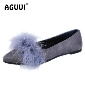 Women Shoe Elegant Sweet Pointed Toe Shallow Flats Size 35-40 Ladies Faux Fur Comfortable Slip-On Ballet Flats