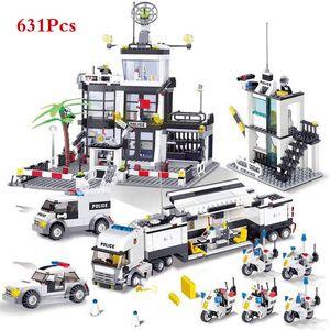 City Police SWAT helicóptero caminhão do carro Building Blocks Define Bricks LegoINGLs Brinquedos Playmobil brinquedos educativos para crianças