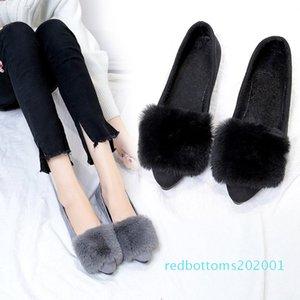 2020 Women Shoes Flats Female Shoes Slip On Fur Autumn Winter Casual Loafers Flock Short Plush Plus 35-40 Black Gray r01