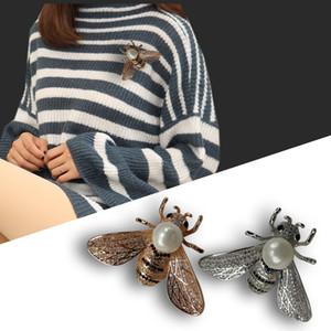 Honeybee Broche cristal de diamant Bee Pins design de luxe cuivre strass Mode Femmes Brooches Insect Pull Pins