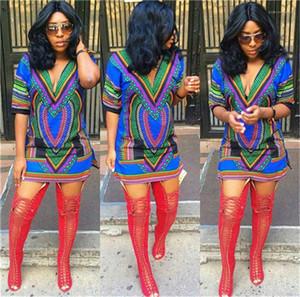 Ginocchio mezza manica Casual Abbigliamento Donna Fiore Estate Stampa abiti con scollo a V sexy del partito Moda Abbigliamento Sopra