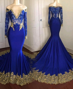 Incrível Gold Lace Royal Blue Real Photo Mermaid Prom Vestido manga comprida ver através Lantejoula 2020 Partido Vestidos Formais
