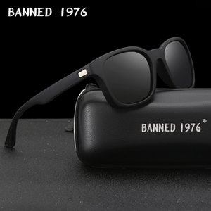 BANNED 1976 Fashion Men Polarized Sunglasses women Driving Mirrors Points matte Black Frame Eyewear Male Sun Glasses UV400 Y200420