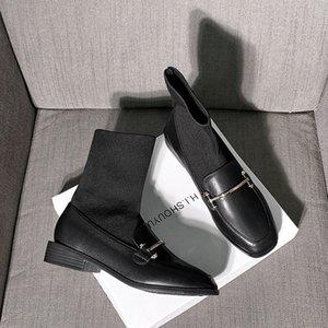 Metal dekorasyon streç çorap çizmeler kadınlar kısa bottes femme kare ayak bileği düşük topukların botas ince bacak kayma patchwork
