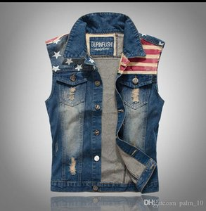 Classic Vintage Mens Jeans Vest Tops Sleeveless Casual Fashion Flag Blue Jeans Jacket Slim Waistcoat men clothing Size M-XXL