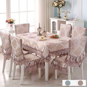 Europe Table tissu satin imprimé dentelle Housse de coussin Chaise Set mariage Hôtel Decorat Banquet Accueil Dinning Set Tablecloth
