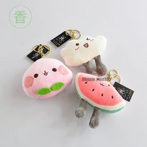 12CM Frucht-Anhänger Plüsch-Schlüsselanhänger mit großem Fragrant einer neuen Art von Cloud-Plüsch-Spielzeug Fastener Plüsch Schlüsselanhänger Spielzeug Mädchen Tasche Auto Schnalle