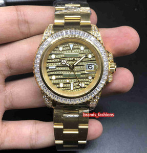 인기 남성 패션 손목 시계 골드 스테인레스 스틸 시계 다이아몬드 베젤 다이아몬드 얼굴 시계 자동 기계 스포츠 시계