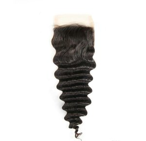 1 PC Deep Wave Lace Closure Free Shipping Brazilian Peruvian Mongolian Malaysian Cambodian Indian Remy human Hair Closure Unprocessed