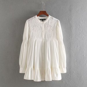 Woah 2020 Ms CC9617 blouse women blusa feminina blusas new hollow embroidery lace long sleeve shirts w