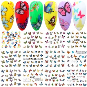 Art Stickers Autocollants 12 modèles en 1 papillon doux Wraps Nail Art Stickers Nail Polish Watermark Stickers Manucure Décoration