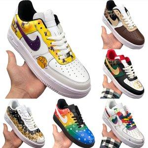 Com Box 2020 AF1 Low Cut Couro Skate Shoes Tampão Top Originals AF1 Baixa Rubber Built_in Zoom Air de amortecimento tênis de basquete