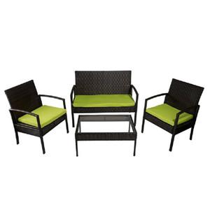 T Estilo de 4 piezas de asiento del sofá Grupo cojines al aire libre juego de muebles de ratán caliente de la venta juegos de mesa Silla Verde