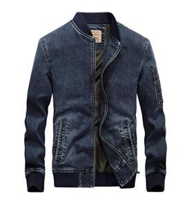 Sonbahar Erkek Tasarımcı Yıkanmış ceketler Moda Erkek Standı Yaka Jeans Coats Casual Vintage Dış Giyim