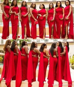 2020 Arapça Afrika Kırmızı Denizkızı Gelinlik Modelleri Tek Omuz Yan Bölünmüş Kat Uzunluk Uzun Wedding Guest Elbise Onur törenlerinde Formal Hizmetçi
