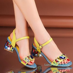 WETKISS OEM Fashion Latest Ladies Sandals Designs Fancy Crystal Summer Sandals Ladies Block Heels Sandals for Women and Ladies