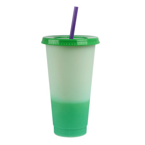 5PCS Color Changing Cup Color Water Sensing Changing Magic Drinking Tumbler with Lid and Straw Reusable Cup magic Coffee Mug