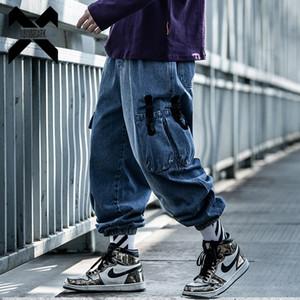 11 BYBB ' IN koyu Hip Hop Kargo Denim pantolon erkekler gevşek Baggy Vintage kot elastik Bel Kaya Şerit Streetwear Wx015