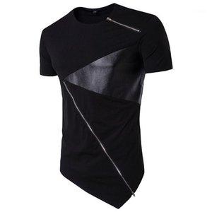 Kol Moda Erkek Deri panelli Tasarımcı Erkek tişörtleri Şık Kontrast Dikiş İlkbahar Yaz Casual Tees O Boyun Kısa Tops