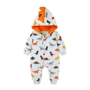 New Autumn Europe Infant Baby Boys Cartoon Dinosaur Rompers Kids Cotton Rompers Child Babies Hooded Onesies Climb Clothes 15276