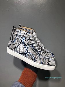 2020 new Graffiti Python Leather High Top Sneakers Shoes Women,Mens Red Bottom Casual Party Leisure Flats Famous Dress Walking EU35-46