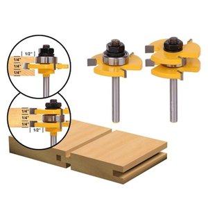 2 шт. / компл. фрезерные биты 1/2 1/4-дюймовый хвостовик шпунт паз соединение собрать фрезерные биты Т-образный шлиц фреза деревообрабатывающие режущие инструменты
