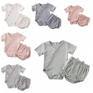 Crianças roupas de grife Meninas artigo Pit Roupa Define bebê listrada de algodão macacãozinho PP Calças Ternos Sólidos Jumpsuit Shorts Briefs Bloomers B7548