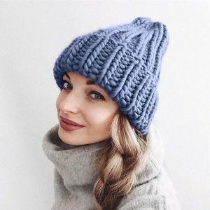 Knitted Wool Hat Women beanie Keep Warm Winter Streetwear Trend Casual Hemming Ski Hat cap winter Femme czapka damska zimowa