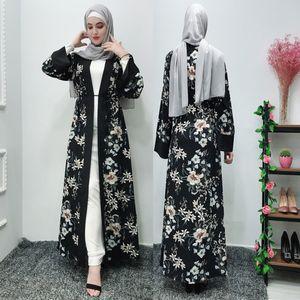 2019 ropa de verano ISHOWTIENDA Marca musulmanes musulmanes Mujeres maxi largo del traje del vestido de Abaya flor Islámico de Dubai Cardigan Ramadán S-2XL