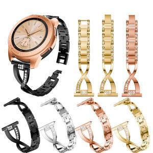 Banda de reloj inteligente de metal de 20 mm con joya de cristal, compatible con reemplazo de pulsera Samsung Galaxy Watch 42mm Gear S3