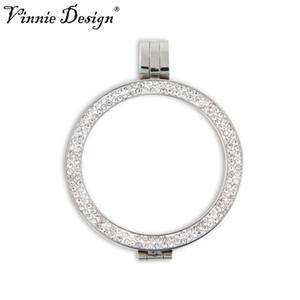 33 mm Para Disc için Vinnie Tasarım Takı Çift Kristal Para Tutucu Paslanmaz Çelik 35mm Geniş Çerçeve kolye