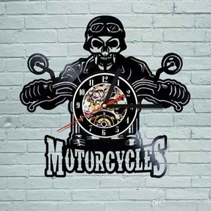 Moto Motorfietsen Bikers Orologio da parete classico Koning Skull Vinyl LP Record Wandklok Decor Art Vinyl regalo domestico moderno Record