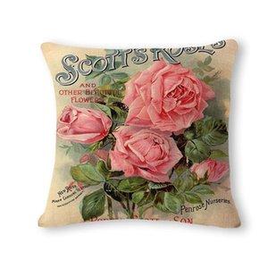 Calme et élégant frais Peach Blossom Motif Coton Lin Coussin Coussin Coussin Can personnalisée