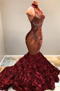 2020 Burgundy Halter Lace Mermaid Prom Vestidos longos Illusion Applique frisada 3D Flores Trem da varredura Evening Vestidos Vestidos de Festa
