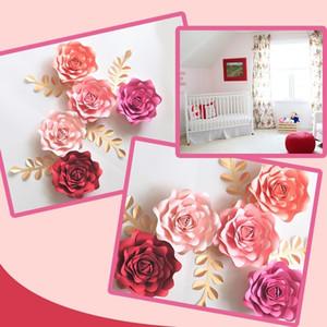 DIY Papel das folhas das flores Nursery Set para o bebé Nursery Wall Art Kids Room Decoração do bebê Quarto Floral Decor Rose Deco CJ191206
