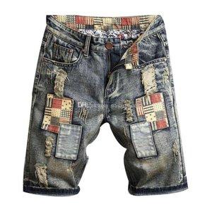 Marca New Mens Ripped Denim Shorts Men Moda Denim Jeans slim Hetero Pants Tendência dos homens do desenhista Calças