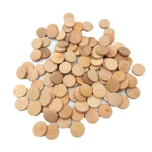 100Pcs 20mm Natural Flat Round Beads Legno massello di legno incompiuto Accessori fai da te Chip di legno Cerchi dischi di legno Baby Toy