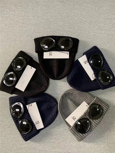 Tide GOGGLE Beanies zwei Gläser CP Beanies Herbst Winter im Freien warmen Hut beiläufige hohe Qualität Männer Kappen schwarz grau blau
