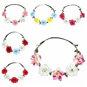 Atacado Mulheres Rose Headband grinalda arcos de cabelo Headband Handmade Artificial Mar Flower Elastic Headband Wedding Wreath DH1087