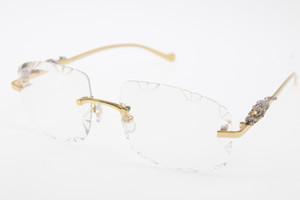 2020 Ücretsiz Kargo Çerçevesiz Güneş T8200762 Panther Çerçevesiz Güneş Küçük Taşlar Glasses Unisex Carve Mercek Şeffaf Len Yeni
